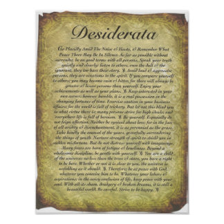 Desiderata-Gedicht auf antikem Art-Papier Poster