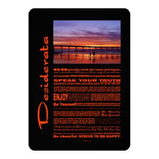 Desiderata-Gedicht-bunter Sonnenuntergang hinter 12,7 X 17,8 Cm Einladungskarte