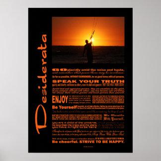 Desiderata-Gedicht-Drachen-Surfer Poster