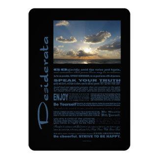Desiderata-Gedicht-marschierende Wolken über dem 12,7 X 17,8 Cm Einladungskarte