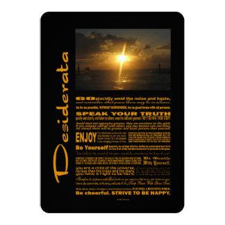 Desiderata-Gedicht-sehr heller Sonnenuntergang 12,7 X 17,8 Cm Einladungskarte