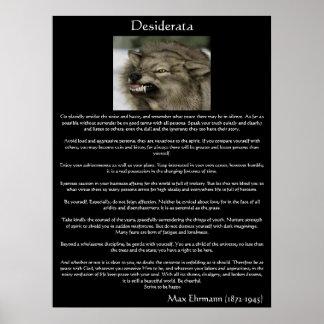 Desiderata-graue Wolf-Plakate Poster