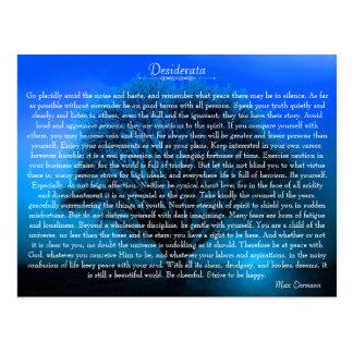 Desiderata-inspirierend Gedicht mit mystischem Postkarte