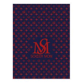 Designer-Fußball-Mamma (blau/Rot) Postkarte