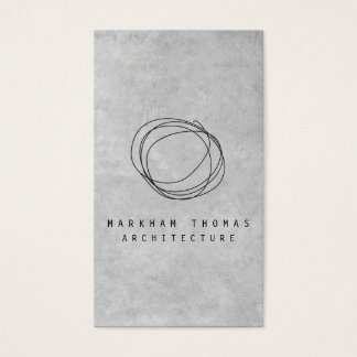 Designer-Gekritzel-Logo auf grauem Beton Visitenkarte