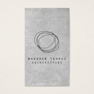 Designer-Gekritzel-Logo auf grauem Beton Visitenkarten