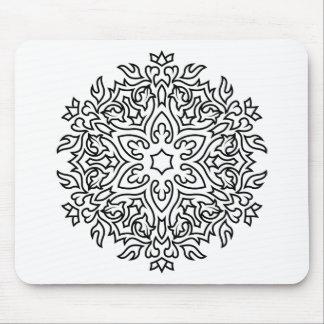 Designer-Mandala Schwarzweiss Mousepads