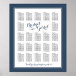 Designer Text Navy Blue Wedding Seating Chart Poster