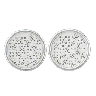 Designerblumenmanschettenknöpfe: schwarzes n-Weiß Manschetten Knöpfe