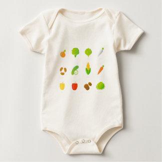 Designert-shirt mit handdrawn Biofrucht Baby Strampler