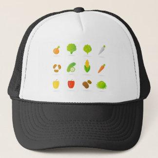 Designert-shirt mit handdrawn Biofrucht Truckerkappe