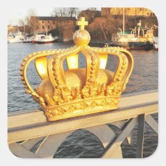 Detail der Brücke in Stockholm, Schweden Quadratischer Aufkleber