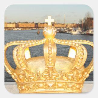 Detail der goldenen Kronenbrücke in Stockholm, Quadratischer Aufkleber
