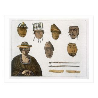 Detail des Kopfschmucks und der Waffen für die Postkarte