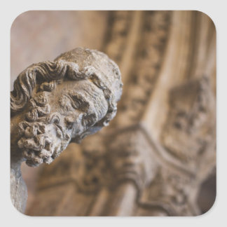 Detail von Klöster Patriarch Zacarias Statue Quadratischer Aufkleber
