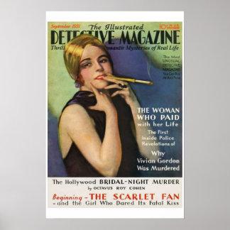 Detektiv-Zeitschrift-Vintages Titelseiten-Plakat Poster