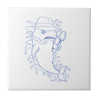 Detektivorca-Mörder-Wal-Zeichnen Fliese