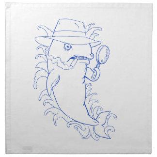 Detektivorca-Mörder-Wal-Zeichnen Serviette