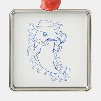 Detektivorca-Mörder-Wal-Zeichnen Silbernes Ornament