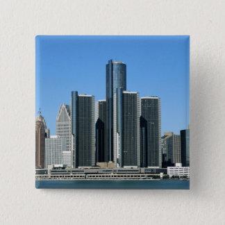 Detroit-Skyline 4 Quadratischer Button 5,1 Cm