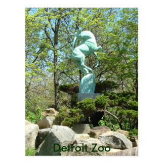 Detroit-Zoo-Statue-Postkarte Postkarte