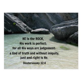 Deuteronomy 32:4 ist er der Felsen Postkarte