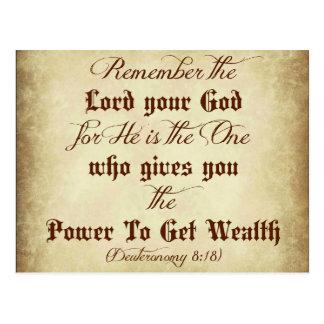 Deuteronomy Bibel erinnern sich den an Lord Ihr Postkarte