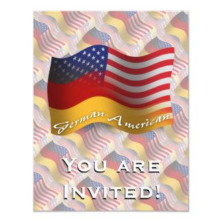 Deutsch-Amerikanische wellenartig bewegende Flagge 10,8 X 14 Cm Einladungskarte
