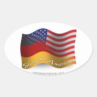 Deutsch-Amerikanische wellenartig bewegende Flagge Ovaler Aufkleber