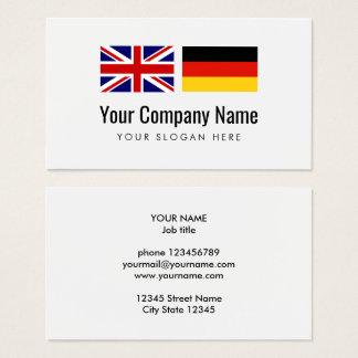 Deutsch-englischer Übersetzer der Visitenkarte