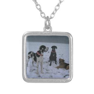 Deutsche Dogge, Great Dane,Hunde,Weihnachten Halskette Mit Quadratischem Anhänger