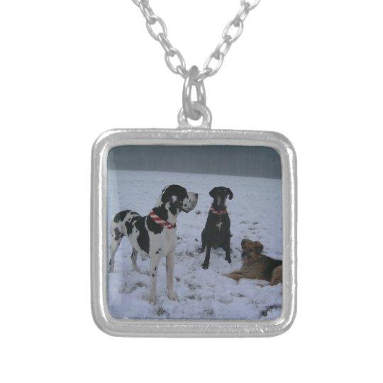 Deutsche Dogge, Great Dane,Hunde,Weihnachten Versilberte Kette