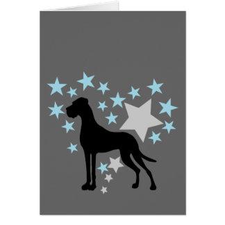 Deutsche Dogge und ein Stern-Herz Grußkarte