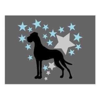 Deutsche Dogge und ein Stern-Herz Postkarte