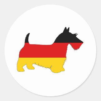 Deutsche Flagge - schottischer Terrier Runder Aufkleber