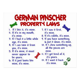 DEUTSCHE PINSCHER Eigentums-Gesetze 2 Postkarte