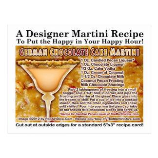 Deutsche Schokoladen-Kuchen-Martini-Rezept-Postkar Postkarte
