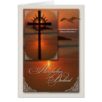 Deutsche SprachBeileids-Kreuz am Sonnenuntergang Grußkarte