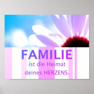 deutsche Sprüche Familie - Blume Himmel Motiv Poster