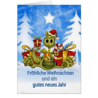 Deutsche Weihnachtskarte - niedlicher Drache - Karte