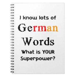 deutsche Wörter Spiral Notizblock