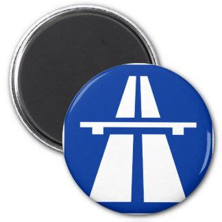 Deutsches Autobahn-Zeichen Runder Magnet 5,1 Cm