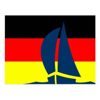 Deutsches Flaggen-Segelboot Deutschland nautisch Postkarte
