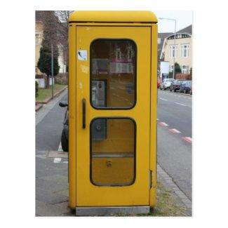 Deutsches gelbes Telefonzelle Postkarte