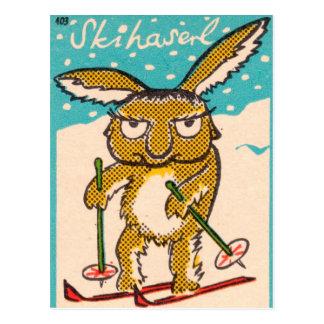 Deutsches Ski-Häschen Postkarte