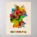 Deutschland-Aquarell-Karte (Deutschland) Poster