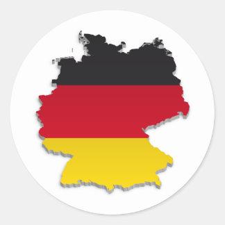 Deutschland-Flagge Map_2 Runder Aufkleber