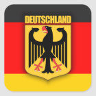 Deutschland-Flagge und Wappen Quadratischer Aufkleber