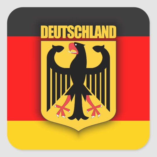 deutschland flagge und wappen quadratischer aufkleber zazzle. Black Bedroom Furniture Sets. Home Design Ideas