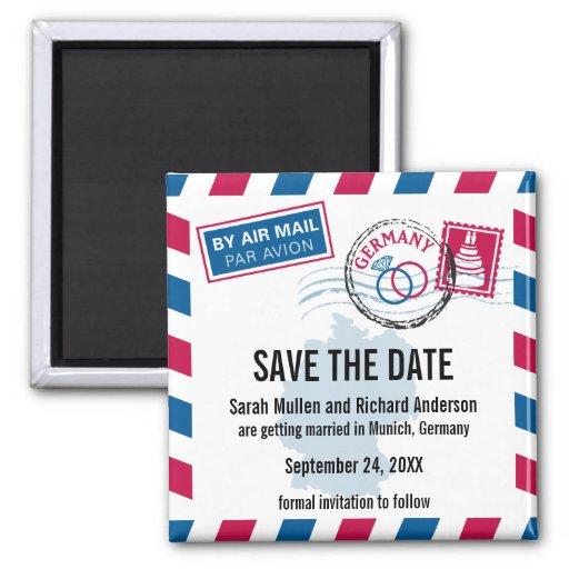 Deutschland-Luftpost, die Save the Date Wedding is Magnete